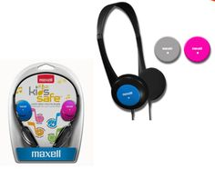 Maxell Kids Safe Classic Headphones  FEATURES: Headphone comes with four fun & colorful interchangeable caps Controlled volume level for safe listening Foldable headphone design Compatible with most electronic devices