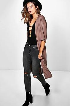 Ava Side Split Ruched Back Duster