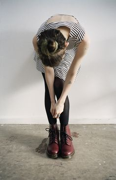 Grunge: striped dress, Black tights and Doc Martens. Via hitchcock blonde