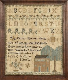 "Dauphin County, Pennsylvania silk on linen sampler, dated 1833, wrought by Fanny Keever, Hummelstown C Jontz instructor, 16 3/4"" x 13 1/2""."