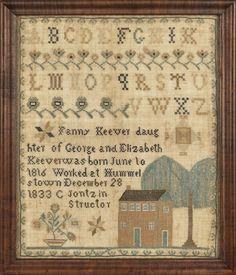 "Dauphin County, Pennsylvania silk on linen sampler, dated 1833, wrought by Fanny Keever, Hummelstown C Jontz instructor, 16 3/4"" x 13 1/2""."