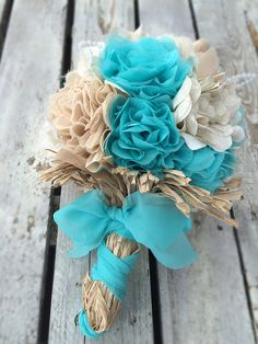 Teal Fabric Flower Bridal Bouquet by 224Locust