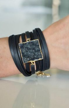 Jewelry OFF! Square Druzy With Black Leather Wrap Bracelet - Mickey Lynn Jewelry Diy Leather Bracelet, Leather Cuffs, Leather Earrings, Leather Jewelry, Boho Jewelry, Fashion Jewelry, Statement Jewelry, Silver Jewelry, Black Jewelry