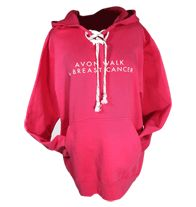 Pink Hoodie sizes S--XXL $45  Best of all, for every Avon Walk item purchased at the Avon Walk Store online, 100% of the net proceeds are donated directly to Avon Breast Cancer Crusade (this ranges from approximately 50% to 75% of purchase price, depending upon the item) to support programs that help people get the breast cancer care they need and to support life saving research.