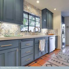 Blue Gray Kitchen Cabinets, Kitchen Cabinet Colors, Kitchen Redo, Home Decor Kitchen, Kitchen Interior, New Kitchen, Home Kitchens, Colorful Kitchen Cabinets, Gray Kitchens