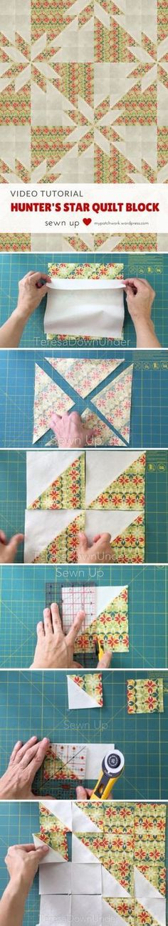 Sewing Block Quilts Video tutorial: Hunter's star quilt block - This block is made out of 2 squares of fabric. Yes, just 2 squares of fabric in contrasting fabrics. How to make a quick and easy Hunter's star quilt block Learn how to make a Hunter's … Star Quilt Blocks, Star Quilt Patterns, Star Quilts, Easy Quilts, Amish Quilts, Quilting Tutorials, Quilting Projects, Quilting Designs, Quilting Tips