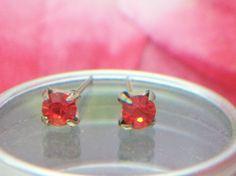 red rhinestone stud earrings vintage red stud by ALEXLITTLETHINGS