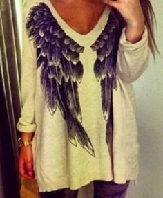 V-Neck Long Sleeve Wing Pattern Loose-Fitting T-shirt