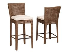 Sunset West Huntington Bar Stool with Cushion Cushion Color: Canvas Vellum Wicker Counter Stools, Woven Bar Stools, Rattan Bar Stools, Modern Counter Stools, Patio Bar Stools, Patio Rocking Chairs, Patio Chairs, Ikea Chairs, Dining Chairs