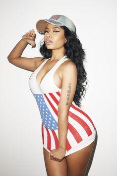 Nicki Minaj in the US Flag Print Fine Jersey Tank.