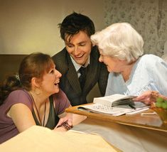 The Doctor & Donna meet an elderly Agatha Christie Look how the Dr is looking at Donna.