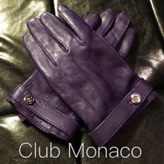✨Brand New✨ Genuine Leather Gloves Purple leather gloves by Club Monaco. Never been worn. Genuine leather and 100% silk. Size M/L. Fits more like a S/M Club Monaco Accessories Gloves & Mittens