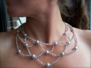pearl necklace  White Pearl necklace with Silver locks
