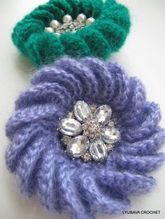 PDF Crochet Brooch Pattern, Unique Crochet Brooch Turorial, 3D Flower Crochet Brooch Tutorial Pattern, Lyubava Crochet Pattern number 33, via Etsy.