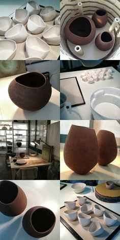 Here are some snapshots from the second half of September: (Clockwise from the top) Mineral bowls drying Lithic vessels about to be f. Pottery Bowls, Ceramic Pottery, Pottery Art, Ceramic Pinch Pots, Ceramic Clay, Pottery Techniques, Ceramic Techniques, Ceramic Tableware, Ceramic Bowls