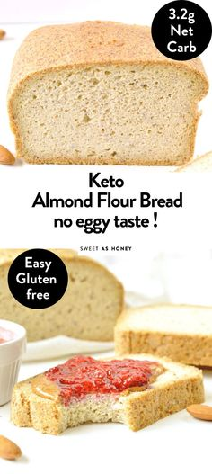 KETO ALMOND FLOUR BREAD is an easy low carb bread loaf recipe with a delicious bread texture and NO eggy flavor! Also, it is paleo and gluten free Easy Keto Bread Recipe, Best Keto Bread, Lowest Carb Bread Recipe, Gluten Free Low Carb Bread Recipe, Jam Recipes, Bread Recipes, Low Carb Recipes, Healthy Recipes, Healthy Food