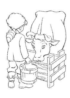 Dessin d'une vache qui boit dans son abreuvoir à colorier