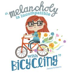 Melancholy is Incompatible with Cycling Print by Freya Harrison, via Behance