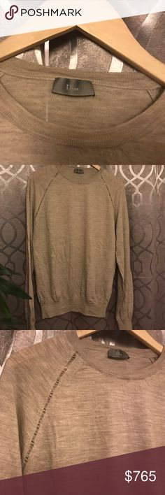 Men's Dior Sweater Like new. Wore a few time. Men's Dior sweater made in Italy. 100% Laine-Wool. Color is they/cream. Beautiful sweater. Size small.  There is a small hole in sweater that's why is discounted compared to the pink sweater. See pic. Dior Sweaters Crewneck