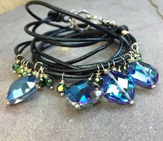 Black Leather Wrap Bracelet with Blue & Teal Peacock Themed Crystal Charms - by AdrienneAdelle
