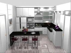 As plantas de cozinhas pequenas serão utilizadas para inicio da obra, por meio delas você poderá definir como será cada detalhe dentro do seu ambiente. Kitchen Design Open, Open Plan Kitchen, Cozy Kitchen, Kitchen Decor, H Design, Kitchenette, Beautiful Kitchens, Home Decor Bedroom, Kitchen Interior