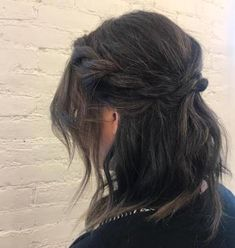 Twisted crown with loose waves DIY wedding hairstyle. Curled Hairstyles, Wedding Hairstyles, Diy Wedding Day, Long Locks, Loose Waves, Top Knot, Shoulder Length, Ponytail, Hair Inspiration