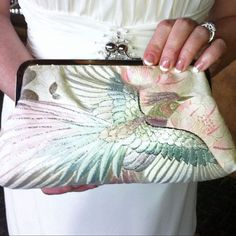 Kimono Fabric Clutch Purse Bag..Embroidered Flying Phoenix Bird..