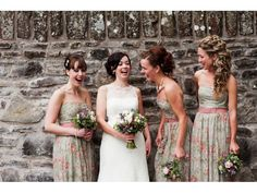 New Lanark Mill Wedding: Scottish Bride and bridesmaids having a laugh!