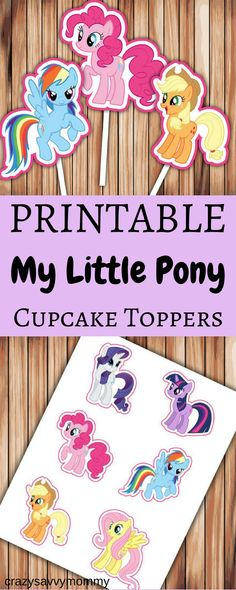 ONLY $2!!! PRINTABLE My Little Pony Cupcake Toppers. These super cute cupcake toppers are a great additional to your My Little Pony themed birthday party! Budget friendly and easy! Click the link to buy them NOW at Etsy.com! #diypartydecor #printables #ad #partyideas #kidspartyideas