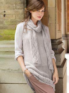 Туника с ажурной планкой и шарф