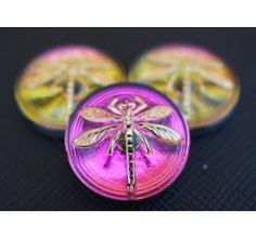 Cabochon Pink-Green with Gold Dragonfly