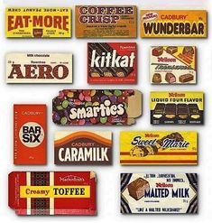 Canadian Chocolate Bars from Neilsons, Lowneys, Cadbury & Rowntrees Canadian Candy, Canadian Chocolate Bars, Canadian Things, Vintage Candy, Retro Candy, Vintage Toys, 1980s Candy, Vintage Holiday, Vintage Stuff