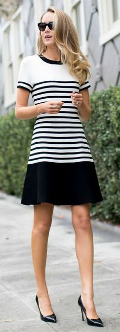 Sporty Stripes.  Really love the style with the short sleeves and length.  So cute.