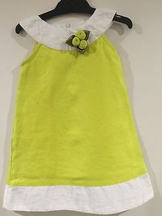 Girls Dress Lemon Yellow Linen   - Size 2-4