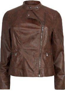 Gorgeous Plus Size Fashion for Women: Inspire at New Look - Inspire Brown Leather-Look Collarless Biker Jacket