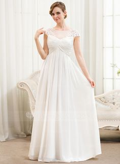 A-Line/Princess Scoop Neck Floor-Length Chiffon Tulle Wedding Dress With Ruffle Appliques Lace (002052777)
