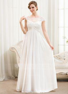 Vestidos princesa/ Formato A Decote redondo Longos De chiffon Tule Vestido de noiva com Pregueado Apliques de Renda (002052777)