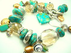 Turquoise bracelet turquoise and gold turquoise by strandsofgrace, $56.00