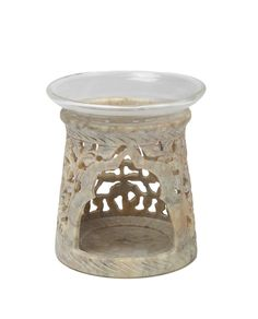 Christmas Gifts and Decorations Essential Oil Warmer Aroma Diffuser and Burner with Glass Bowl & Tea Light Holder Hand Carved in Leaf Design Soapstone