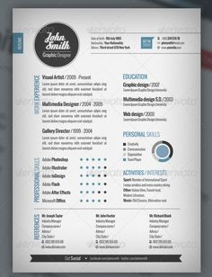 """Ready One Page Resume. This template conveys a clean, modern, and fresh look that screams innovation! A pie chart visualizes personal skills; a star system depicts professional skills. Social media is emphasized. A call-to-action urges the reader to """"get in touch"""" by directing focus to contact info. Template is available for $7 (InDesign format, Photoshop format, Illustrator format). From graphicriver.net"""