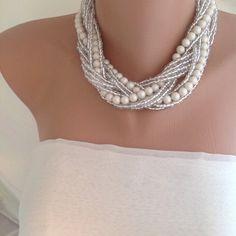 Perlas de vidrio italiano marfil trenzado por HMbySemraAscioglu