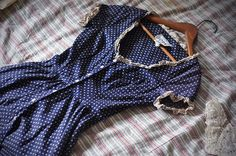blue dress with white polka dots + tiny lace trim - sweet sweet