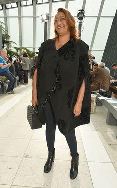 Zaha Hadid front row at Christopher Kane's Spring/Summer 2016 show during London Fashion Week.