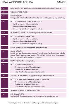 Event Run Sheet  Event Ideas