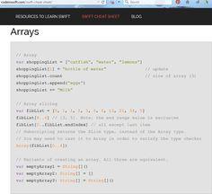Swift Cheat Sheet - Arrays; more at http://codeinswift.com/swift-cheat-sheet/