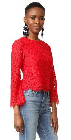 alice + olivia Pasha Bell Sleeve Lace Blouse | SHOPBOP