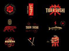 Tiger Sushi / Restaurant / Combo Logo by Jose Balsalobre on Dribbble Japanese Branding, Japanese Logo, Japanese Design, Kobe Japanese Steakhouse, Oshi Sushi, Sushi Logo, Japan Graphic Design, Restaurant Logo Design, Asian Restaurants