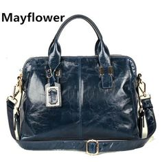 New 2014 famous brands ladies oil wax leather bag real 100% genuine leather handbags shoulder women messenger bags, FreeShipping $89.00