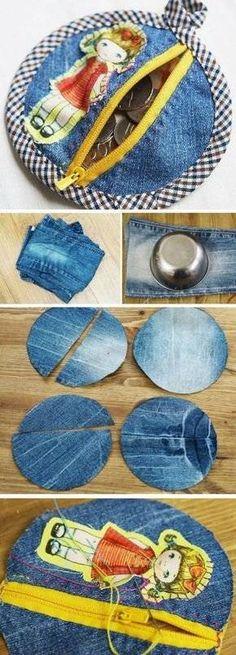 old-Jeans-the-bad-Geld-machen Geldbörsen Diy Bag and Purse diy purse making Sewing Hacks, Sewing Tutorials, Sewing Patterns, Bag Tutorials, Purse Patterns, Fabric Crafts, Sewing Crafts, Artisanats Denim, Zipper Pouch Tutorial