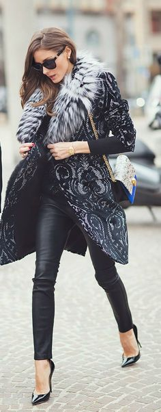 Winter Fashion 2014. Olivia P showing her chìc leather pants and stunning fur trimmed and lace-like pattern coat. ::M::